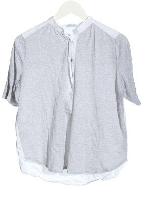 van Laack Camicetta a maniche corte grigio chiaro-bianco puntinato stile casual