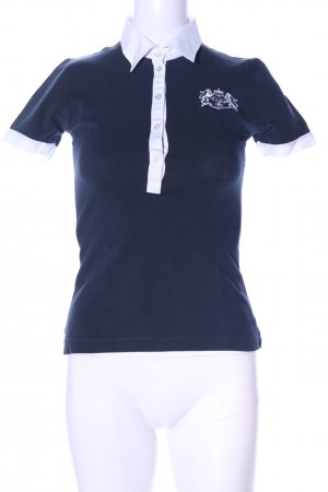 van Laack Short Sleeve Shirt blue-white embroidered lettering casual look