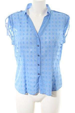 van Laack Shirt met korte mouwen blauw gestippeld patroon casual uitstraling