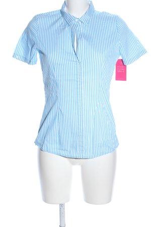 van Laack Kurzarmhemd blau-weiß Streifenmuster Casual-Look