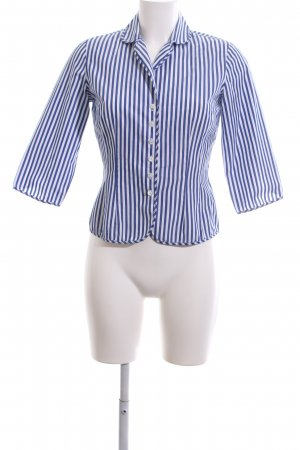 van Laack Kurzarmhemd blau-weiß Streifenmuster Business-Look