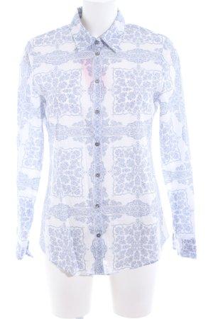 van Laack Langarm-Bluse weiß-blau abstraktes Muster Casual-Look
