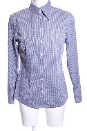 van Laack Langarm-Bluse blau-weiß Karomuster Business-Look
