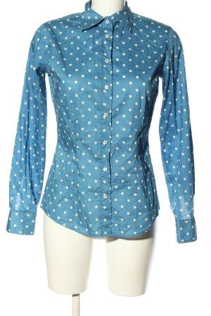 van Laack Langarm-Bluse blau-weiß Punktemuster Casual-Look