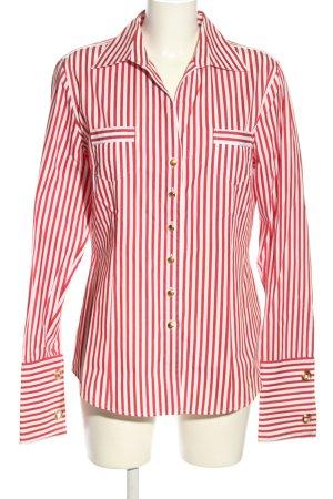 van Laack Langarm-Bluse rot-weiß Streifenmuster Casual-Look
