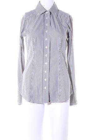 van Laack Shirt met lange mouwen wit-zwart geruite print zakelijke stijl