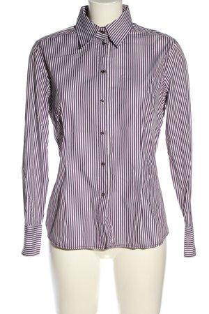 van Laack Langarmhemd weiß-braunviolett Streifenmuster Business-Look