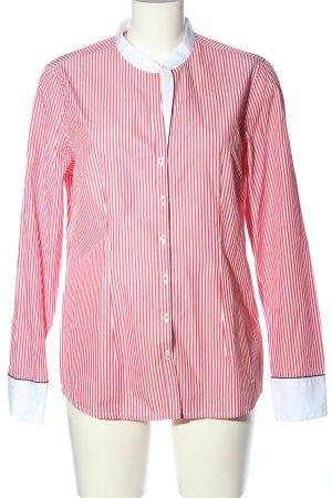 van Laack Langarmhemd weiß-rot Streifenmuster Casual-Look