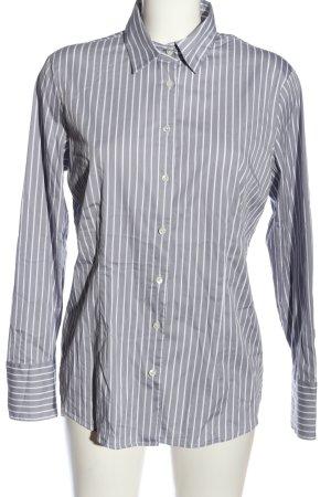 van Laack Long Sleeve Shirt light grey-white striped pattern casual look