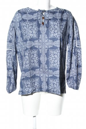 van Laack Slip-over Blouse blue-white abstract pattern casual look