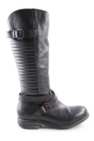 Botas estilo militar negro estampado acolchado look casual