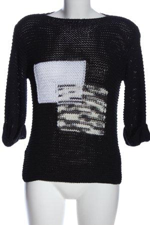 Vango Paris Gehaakt shirt zwart-wit prints met een thema casual uitstraling