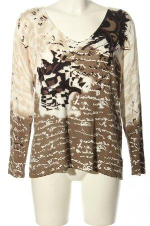 Vanilia V-Ausschnitt-Pullover wollweiß-braun abstraktes Muster Casual-Look