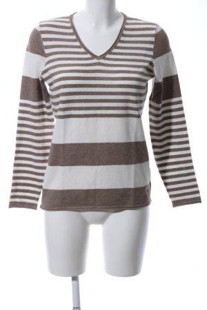 Vanilia V-Ausschnitt-Pullover braun-wollweiß Streifenmuster Casual-Look