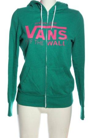 Vans Sweatjacke grün-pink Schriftzug gedruckt Casual-Look
