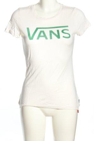 Vans T-Shirt weiß-grün Schriftzug gedruckt Casual-Look