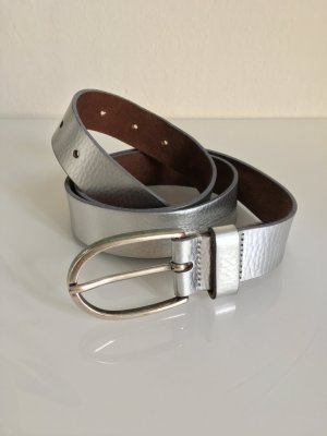 Vanzetti Cinturón de cuero color plata-gris claro