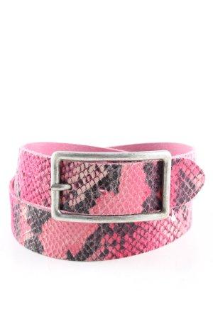 Vanzetti Ledergürtel pink-schwarz Animalmuster Casual-Look
