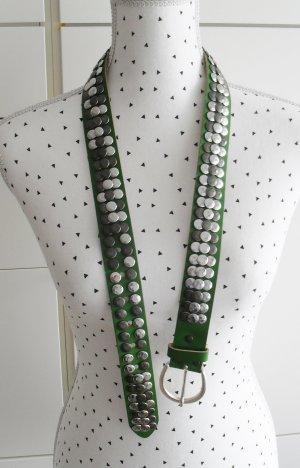 Vanzetti Ledergürtel Gürtel Gr. 85 Grün mit Nieten nur 1 x getragen