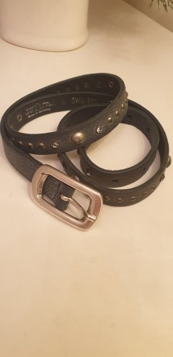 Selection Vanzetti Studded Belt slate-gray leather