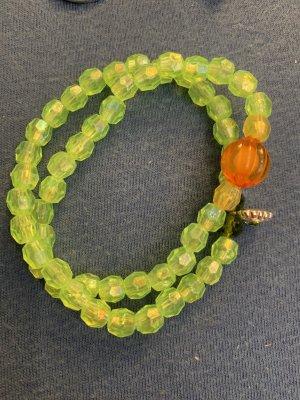 Handmade Brazalete de perlas verde claro-naranja