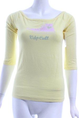 VDP CLUB Print-Shirt gelb-pink platzierter Druck Casual-Look