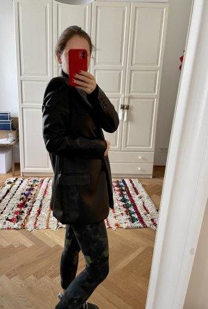Zara Skórzana marynarka czarny