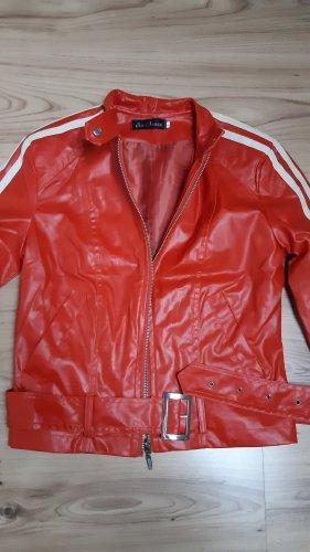 chic & jeune Faux Leather Jacket dark orange-dark red