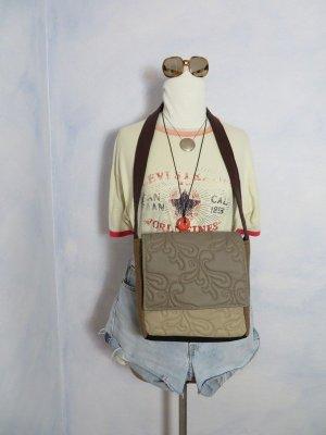 vegane Umhängetasche aus Kunst Leder/Loden - Braun Schwarz Graubraun - Messenger Bag