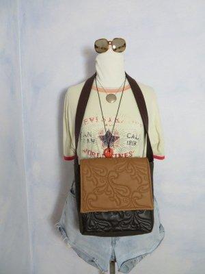 vegane Umhängetasche aus Kunst Leder/Loden - Cognac Schwarz Braun - Messenger Bag