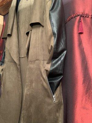 Amisu Abrigo de imitación de cuero negro-gris verdoso