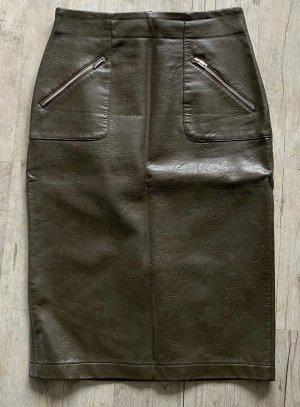 Zara Basic Spódnica z imitacji skóry khaki Poliuretan