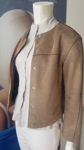 velour leder jacke beige small und bluse