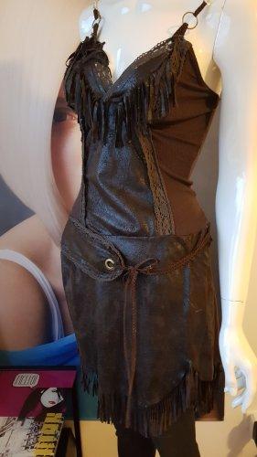 aus Italien Stretch Dress grey brown-dark brown