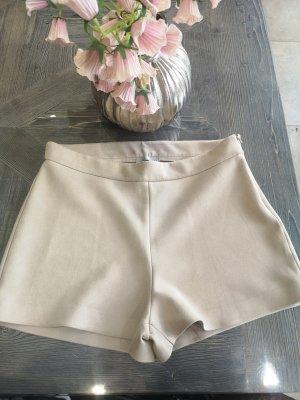 Velour Leder Shorts Gr XL Zara Beige