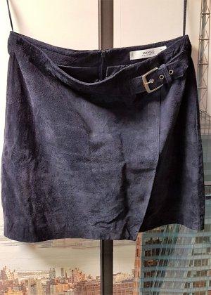 Mango Falda de cuero azul oscuro