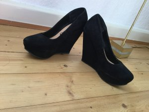 Velours Wedges High Heels Plateau Pumps in schwarz gr. 38