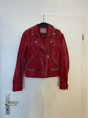 Vero Moda Chaqueta de motociclista rojo oscuro Cuero