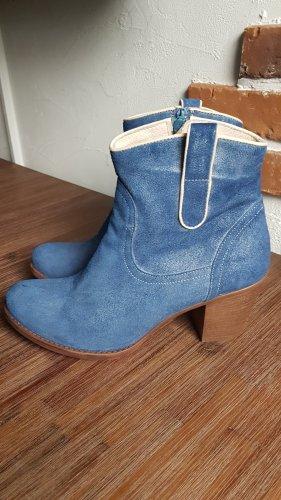 Veloursleder blaue Western Stiefeletten von Peperosa