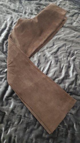 H&M Pantalón de cuero marrón grisáceo-marrón