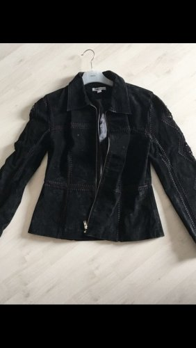 Veloursleder Jacke in schwarz Größe 38