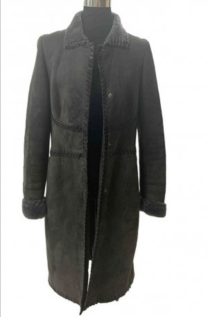Philosophy Di Alberta Ferretti Leather Coat anthracite-dark grey leather