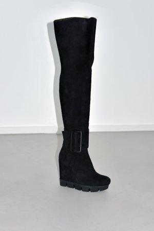 Botas sobre la rodilla negro Cuero