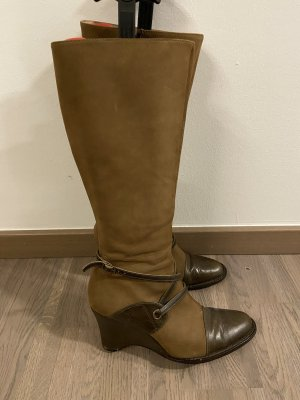 Jane Platform Boots ocher-olive green