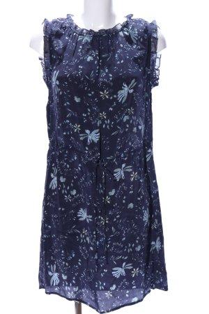 Velvet Blusenkleid blau-khaki Allover-Druck Casual-Look