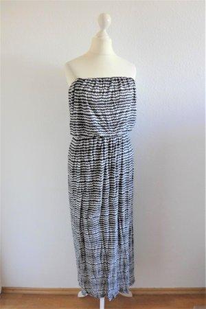 Velvet Boho Ibiza Bandeau Maxi Kleid schwarz weiß grau gestreift Gr. L 40