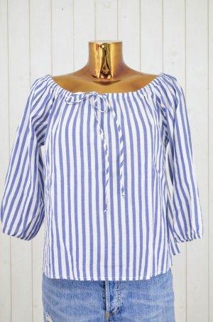VELVET by Graham Spencer Damen Tunika Bluse Gestreift Blau Weiß Baumwolle Gr.S