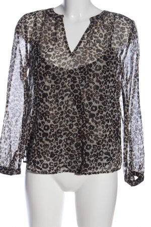 Velvet by Graham & Spencer Langarm-Bluse hellgrau-schwarz Allover-Druck