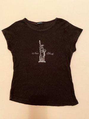 Velvet coole Shirt  -Silber Chrom farbige Steinen New York und Freiheit Bild