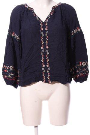 Velvet Hemd-Bluse blau-rot Motivdruck Casual-Look